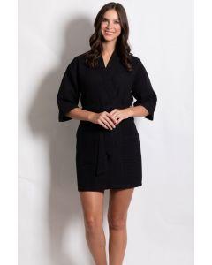Women's Short Waffle Kimono Black Bathrobe