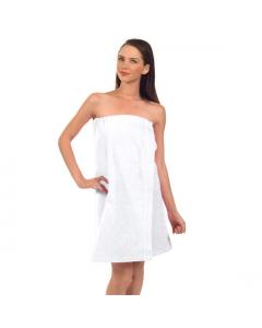 """Womens Terry Velour Spa Wrap, 12 oz, 29""""-White"""