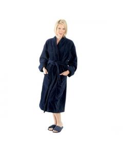 """Terry velour shawl robe, 12 oz, 48""""-Navy"""