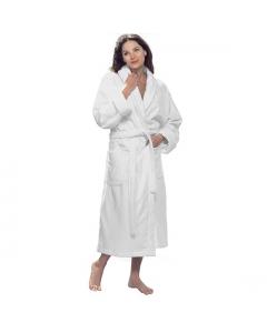 """Terry velour shawl robe, 12 oz, 48""""-White"""