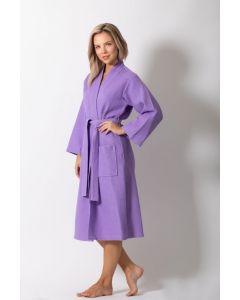 Women's Waffle Lilac Long Premium CottonBlend Bathrobe