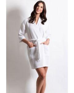 Women's Short Waffle Kimono Pearl White Bathrobe