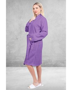 Women's Waffle Lilac Bathrobe - 100% Cotton  (One Size)
